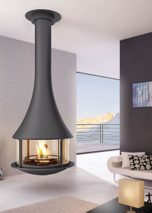 ZELIA 908   central fireplace with glasses